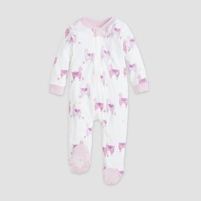 Burt's Bees Baby® Baby Girls' Organic Cotton Llamas Sleep N' Play - White 3-6M