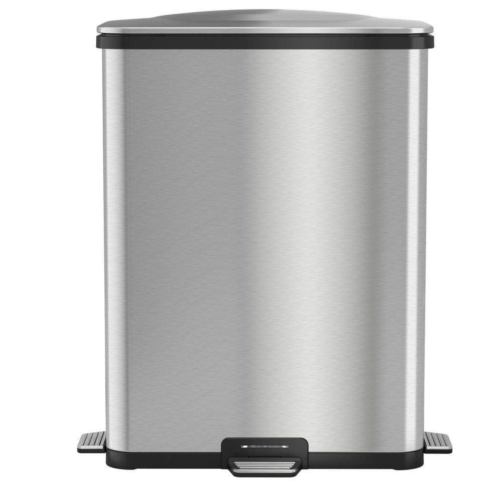 Image of 13gal TapCan Deluxe Stainless Steel Step Pedal Sensor Trash Can - Halo, Silver