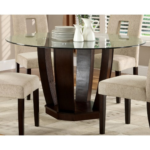 Iohomes Open Base Glass Table Top Dining Table Woodespresso Target