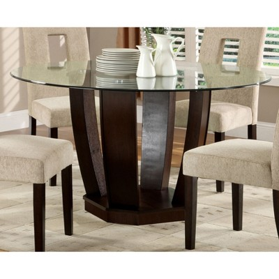 Awesome IoHomes Open Base Glass Table Top Dining Table Wood/Espresso