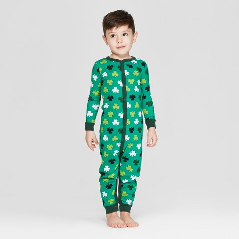 0daf80d3a02 Snooze Button Toddler St. Patrick s Day Clover Print Family Union Suit -  Green