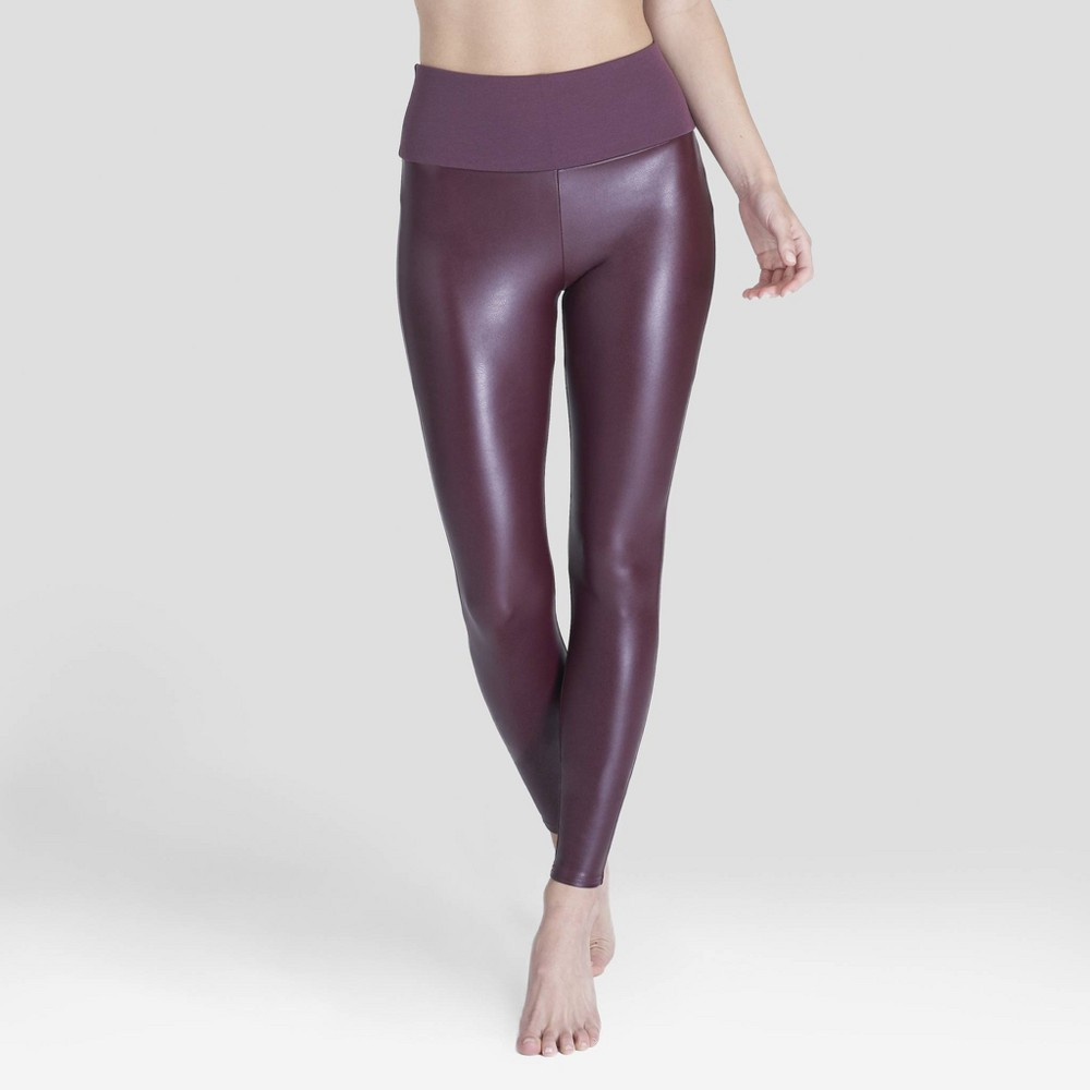 Image of Assets by Spanx Women's All Over Faux Leather Leggings - Wineberry L, Size: Large