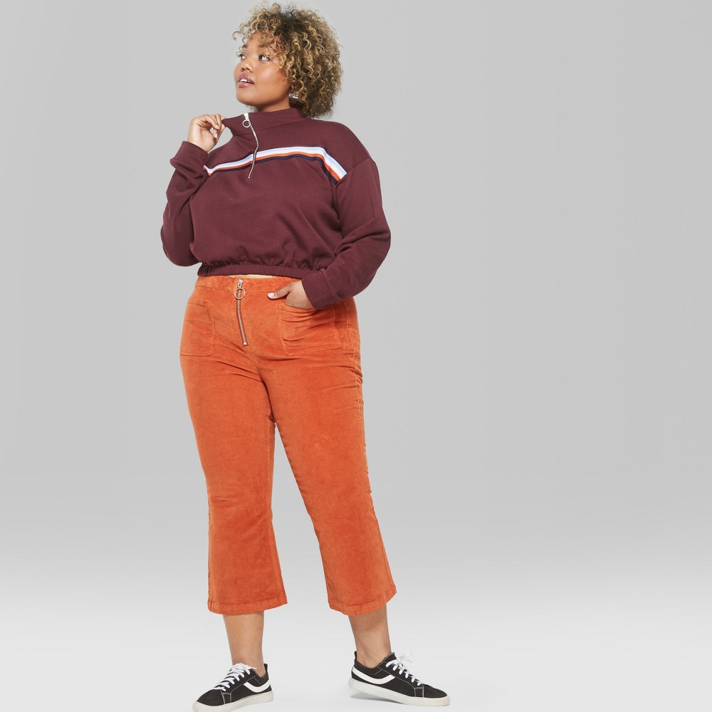 Women's Plus Size Corduroy Kick Flare Cargo Pants - Wild Fable Orange 14W