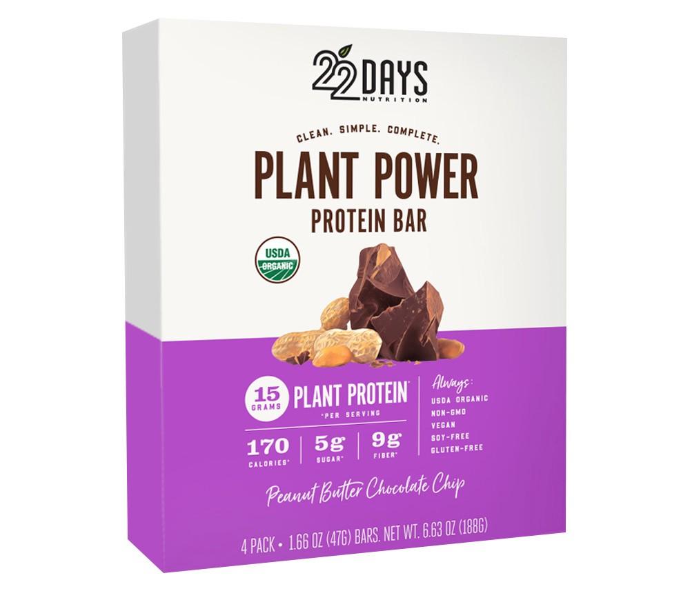Image of 22 Days Nutrition Organic Vegan Protein Bar - Peanut Butter Chocolate Chip - 6.21oz