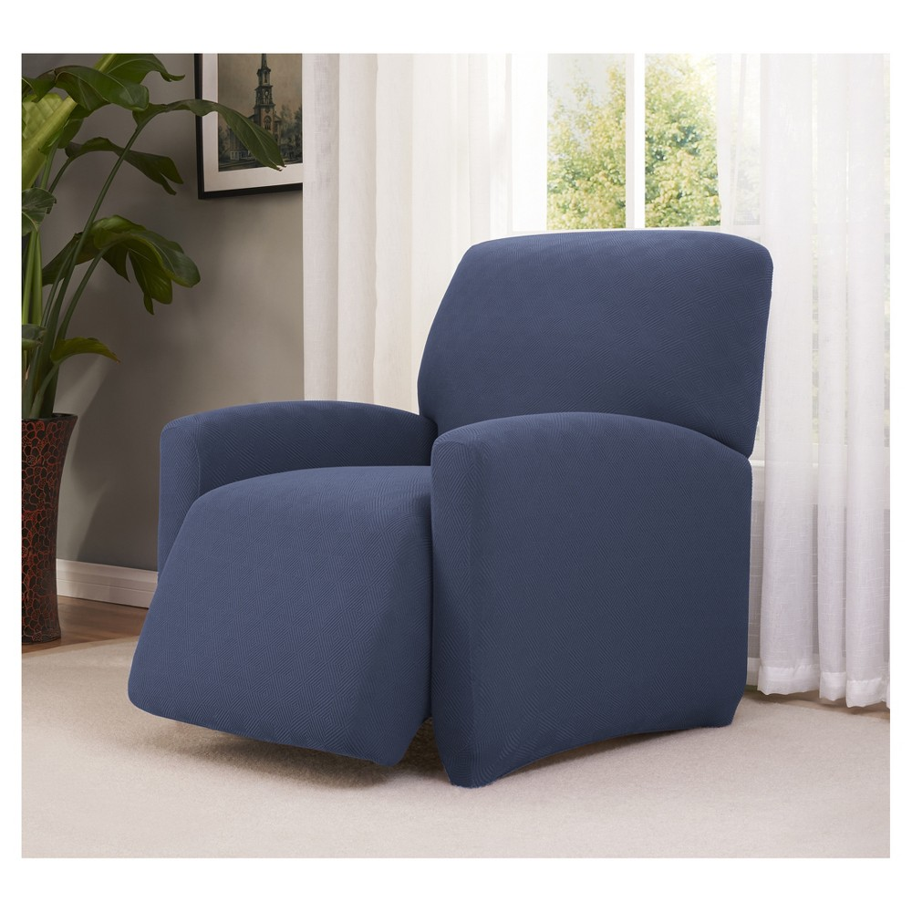 Image of Blue Solid Recliner Slipcover