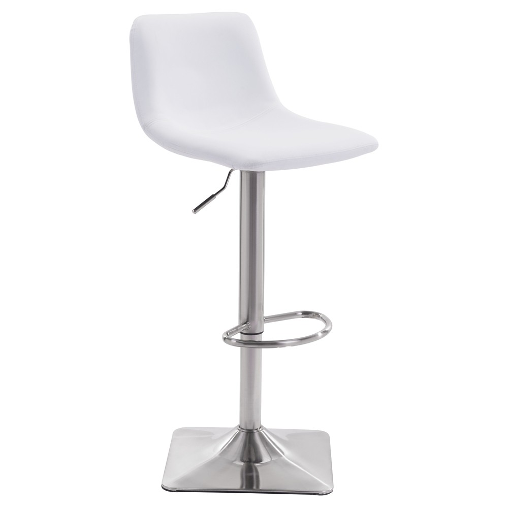 Versatile Faux Leather Adjustable 25 Bar Chair - White - ZM Home