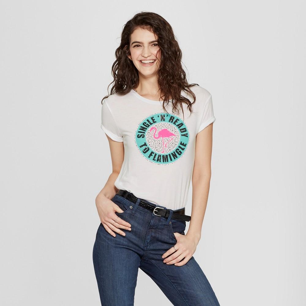 Women's Single and Ready to Flamingle Graphic Tank Top - Awake White S