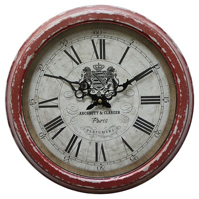 "16"" Round Wall Clock Distressed Red - Yosemite Home Decor"