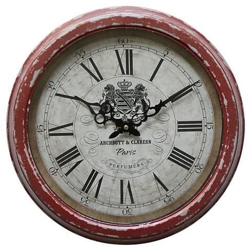 16¼ Round Wall Clock Distressed Red Yosemite Home Decor