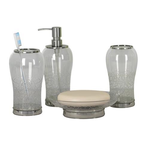 4pc Coyote Metal Glass Bath Accessory, Clear Bathroom Accessories