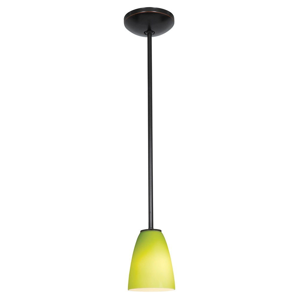 Flute Pendant with Light Green Glass Shade - Oil Rubbed Bronze