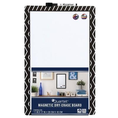 """Quartet 11"""" x 17"""" Frameless Magnetic Dry Erase Board - Chevron Border"""