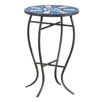 Han Ceramic Tile Side Table - Blue/White - Christopher Knight Home
