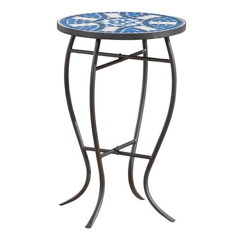 Han Ceramic Tile Side Table Blue White Christopher Knight Home