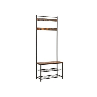 Metal and Wood Coat Rack with 9 Hooks and Storage Shelves Brown/Black - Benzara