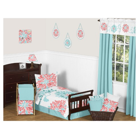 Coral Turquoise Emma Bedding Set Toddler Sweet Jojo Designs