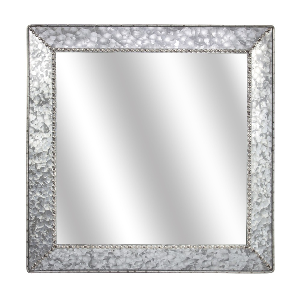 "Image of ""21.65x1.77""""x21.65"""" Galvanized Square Metal Wall Mirror Silver - E2 Concepts"""