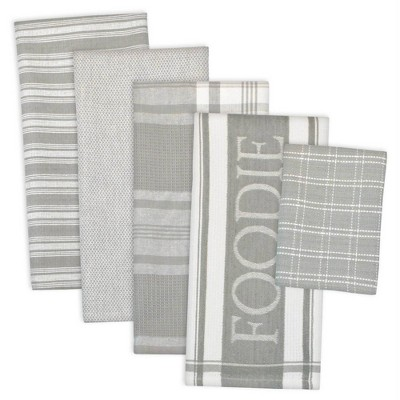 5pc Cotton Foodie Dishtowel and Dishcloth Set Gray - Design Imports