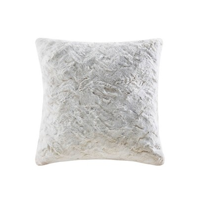"""20""""x20"""" Marselle Faux Fur Square Throw Pillow Snow Leopard"""