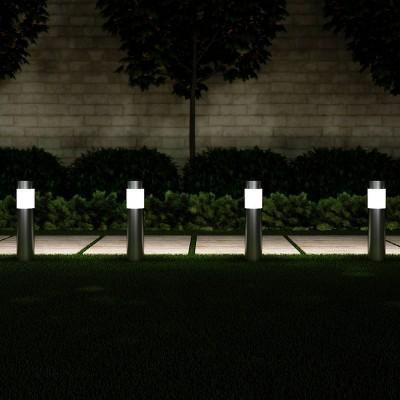 6pk 15  Solar Path LED Bollard Outdoor Stake Lights Stainless Steel - Pure Garden
