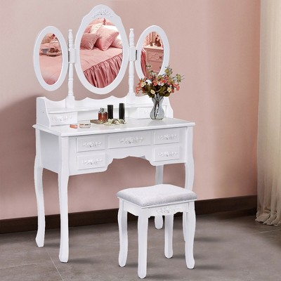 Costway Tri Folding Oval Wood Vanity Makeup Table 7 Drawers White