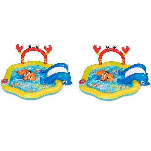 Summer Waves Inflatable Under The Sea Kiddie Swimming Pool W/ Slide (2 Pack) - image 1 of 6