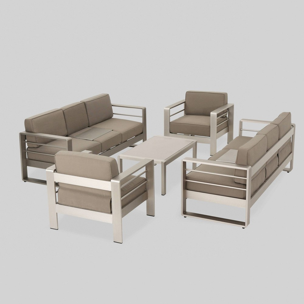 Cape Coral 5pc Aluminum Seating Set Khaki (Green) - Christopher Knight Home