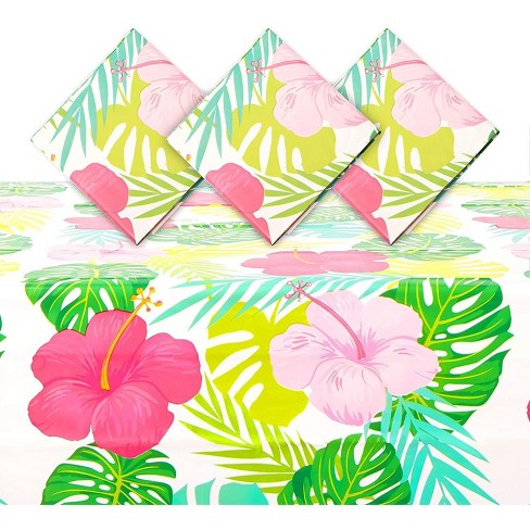 """Sparkle and Bash 3 Pack Floral Plastic Tablecloth Table Cover 54""""x108"""" for Hawaiian Luau Party Supplies - image 1 of 4"""