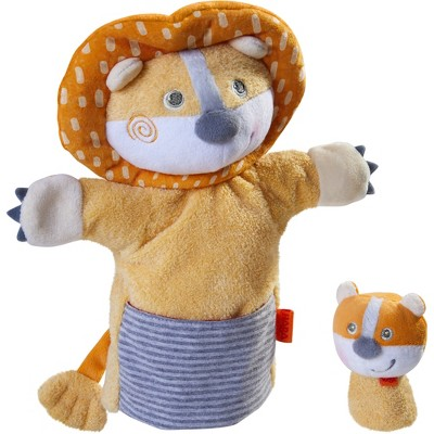 HABA Lion with Baby Cub - Hand Puppet and Finger Puppet 2 Pc Set