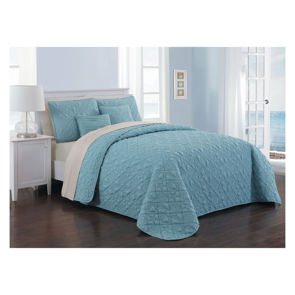 9pc Queen Del Ray Quilt Set Blue/Taupe - Avondale Manor, Blue Sky