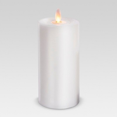 Outdoor LED Motion Flame Resin Candle - 3 x 6  - White - Threshold™