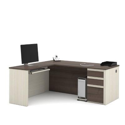 Prestige + WoodL ShapeComputer Desk with Storage - Bestar