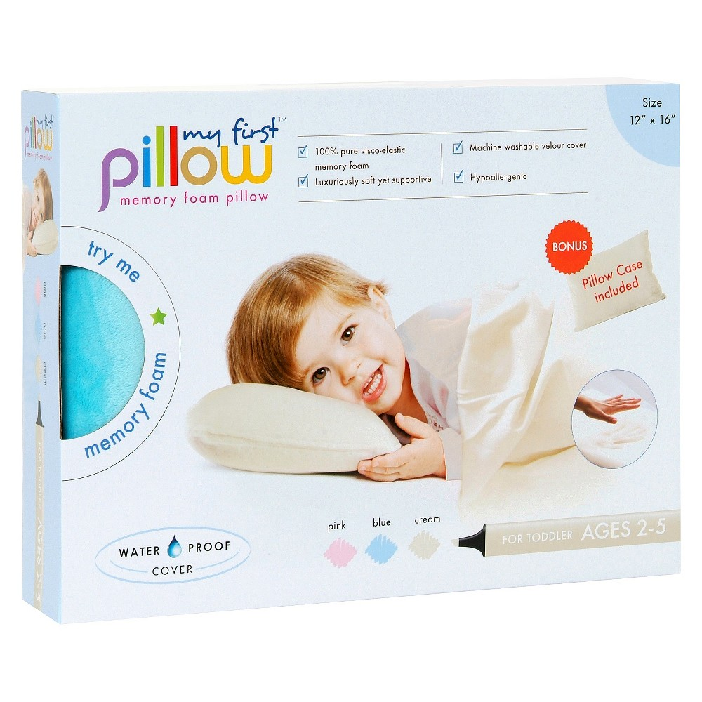 "Image of ""My First Pillow Memory Foam with Free Pillowcase Toddler - Blue (12""""x16"""")"""