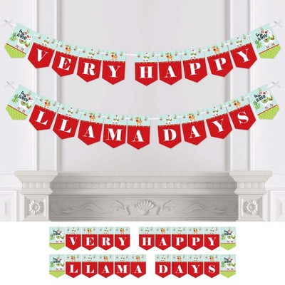 Big Dot of Happiness Fa La Llama - Christmas and Holiday Party Bunting Banner - Party Decorations - Very Merry Llama Day
