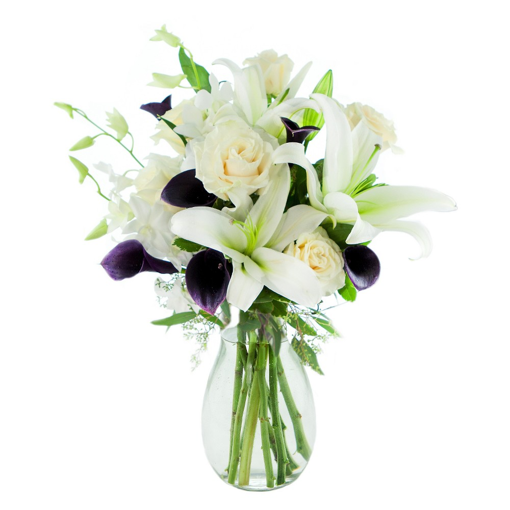KaBloom Art Deco Calla and Roses Fresh Flower Arrangement - with Vase