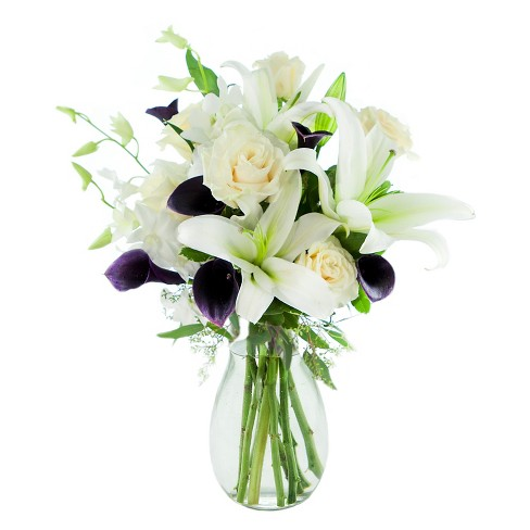 Kabloom Art Deco Calla And Roses Fresh Flower Arrangement With