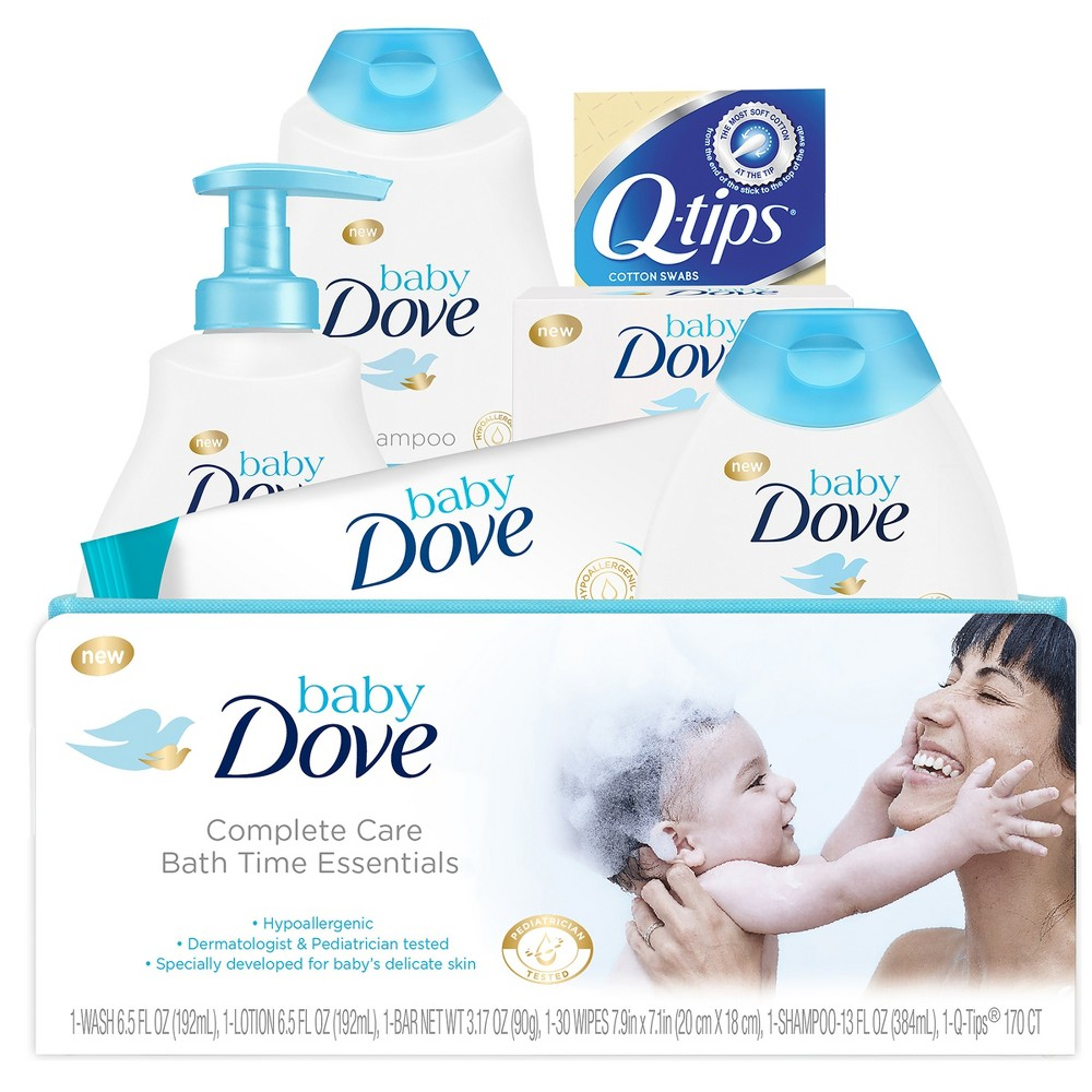Baby Dove Complete Care Bath Time Essentials Gift Set Looking for the best baby shower gift for a baby boy or baby girl? The best gift set for a newborn baby should include everything parents need to keep baby's skin clean and moisturized, all from a brand they can trust. Baby Dove Complete Care Bath Time Essentials Gift Set is the full package of Baby Dove's wash, shampoo, lotion, bar, wipes and more. Whether you're looking for a beautiful baby shower gift or a special surprise for first-time parents, our gift set includes products they will love to use during bath time. Includes Baby Dove Rich Moisture Tip to Toe Wash, Baby Dove Rich Moisture Lotion, Baby Dove Rich Moisture Shampoo, Baby Dove Rich Moisture Bar, Baby Dove Rich Moisture Baby Wipes, Q-tips, and a convenient reusable fabric basket. Our hypoallergenic, pediatrician tested products are pH-neutral and proven to help keep baby's skin clean and moisturized for 24 hours. Did you know a baby's skin can lose moisture up to five times faster than our own? That's why parents will love the Baby Dove line of products, making our baby gift set the perfect baby shower gift! Looking for an even bigger gift set? Try the Baby Dove Complete Care Everyday Essentials Gift Set for even more great items. Gender: Unisex.