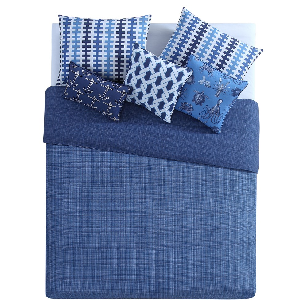 Navy (Blue) Synthesize Duvet Cover Set (Full/Queen) 6pc - Seedling By Thomas Paul