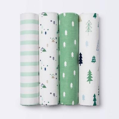 Flannel Baby Blankets Trees - Cloud Island™ Green 4pk