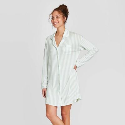 Women's Striped Beautifully Soft Notch Collar Nightgown - Stars Above™ Mint XL