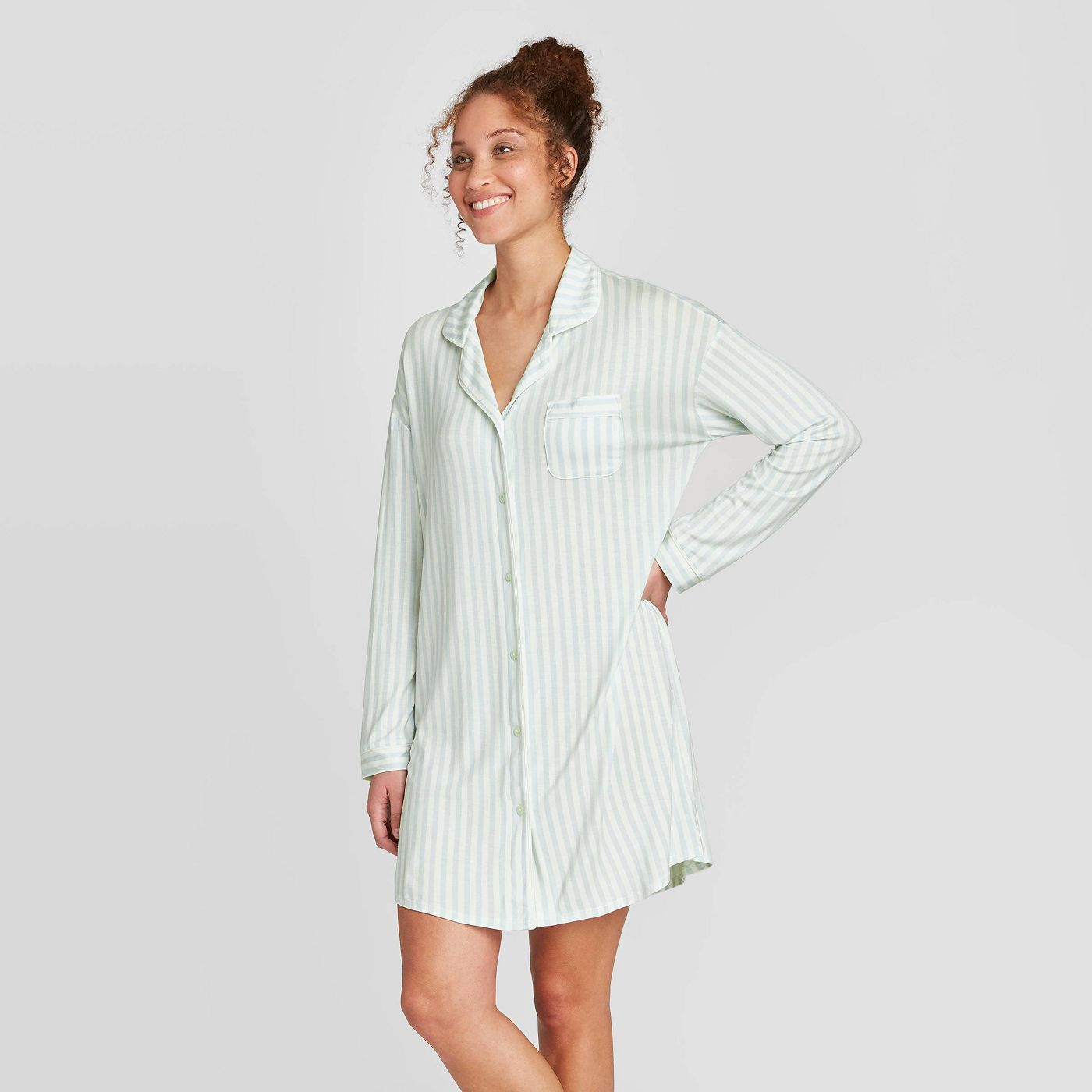 Women's Striped Beautifully Soft Notch Collar Nightgown - Stars Above™ Mint - image 1 of 2