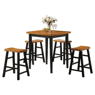 5pc Gaucho Counter Height Dining Set Oak/Black - Acme Furniture