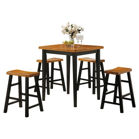 Gaucho 5 Piece Counter Height Dining Set Oak And Black Acme