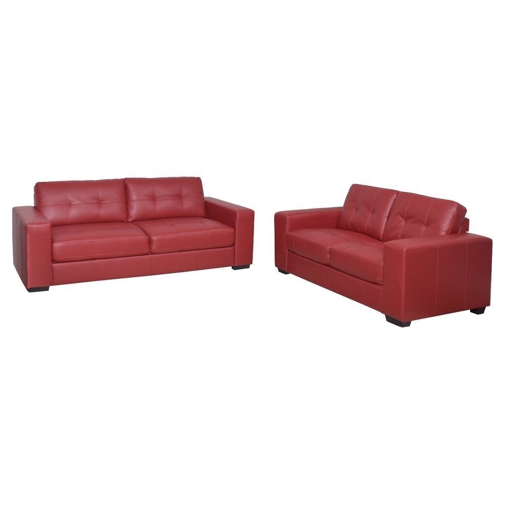 Club 2pc Tufted Red Bonded Leather Sofa Set - Corliving