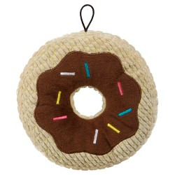 TrustyPup Chocolate Donut Durable Plush Dog - Brown - L
