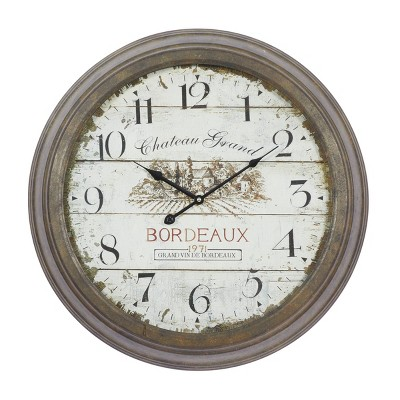 """23"""" Rustic Vintage Style Round Wall Clock - Olivia & May"""