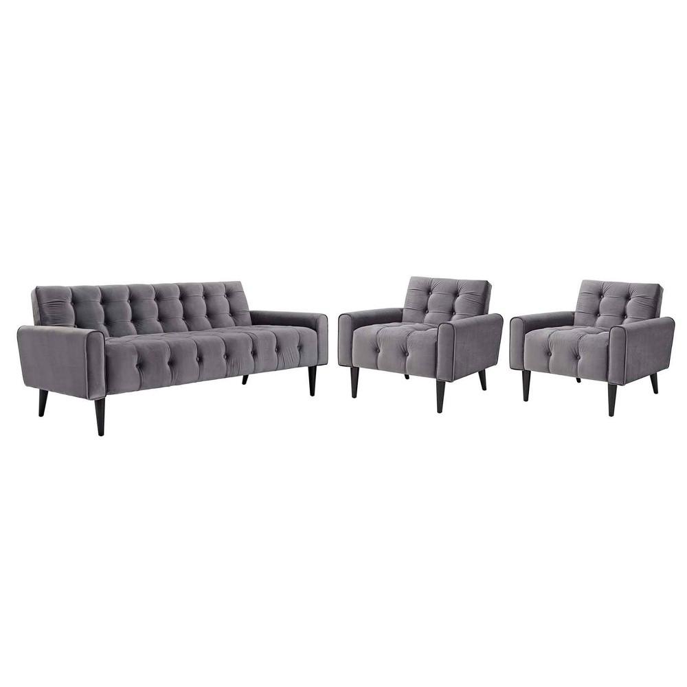 Delve Set of 3 Living Room Set Velvet Gray - Modway