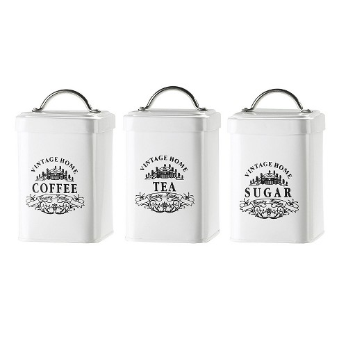 Amici Home Vintage Home White with Black Lettering 36 oz Metal Storage Canisters, Set of 3 - image 1 of 4
