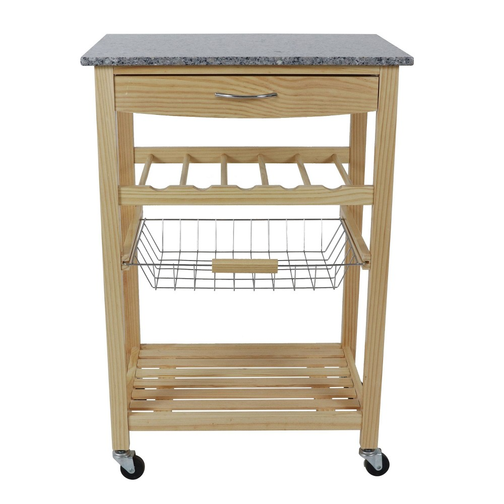 Vernon Wood Kitchen Cart With Marble Top Natural Decor Therapy