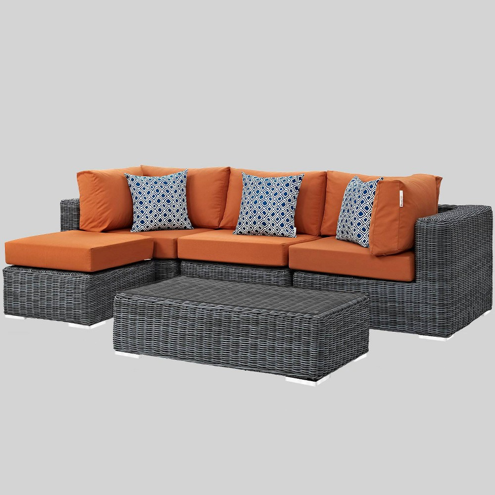 Summon 5pc Outdoor Patio Sunbrella Sectional Set - Orange - Modway
